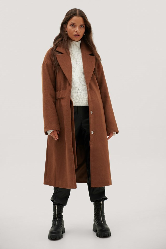 Ruched Wide Belt Wool Coat