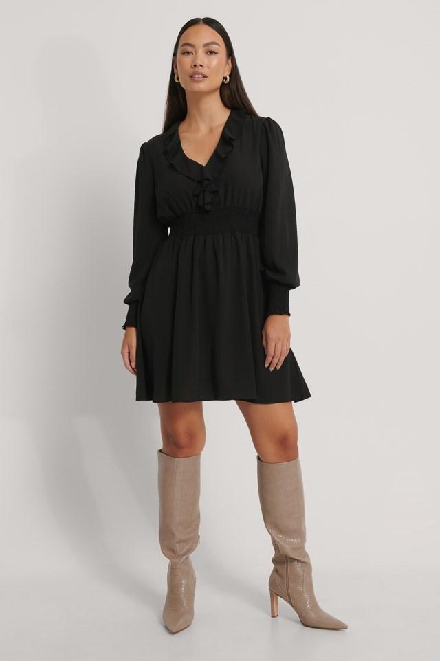V-Neck Ruffle Smocked Waist Mini Dress