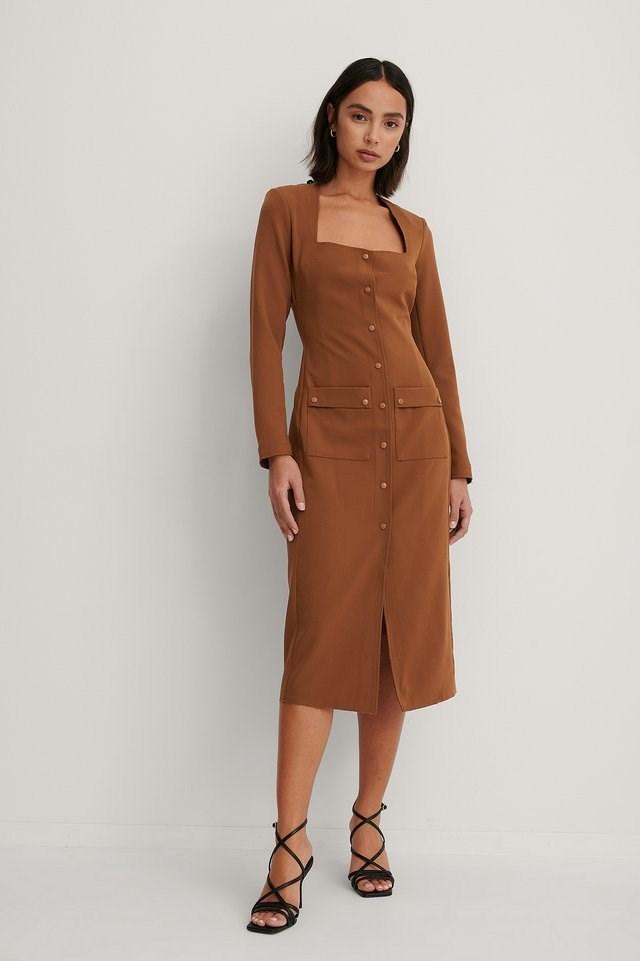 Brown Front Pocket Detail Dress