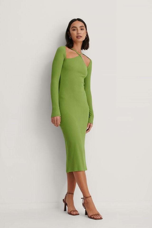 Front Detail Long Sleeve Dress