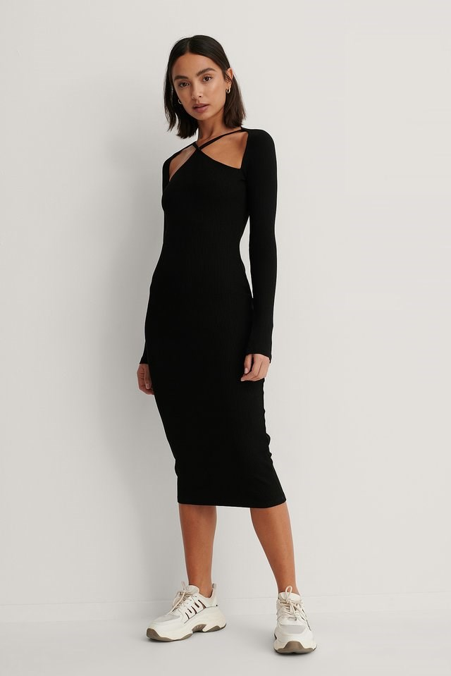 Front Detail Long Sleeve Dress