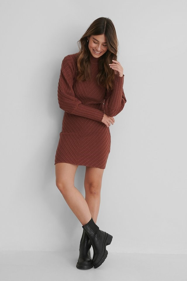 Pattern Knitted Open Back Dress