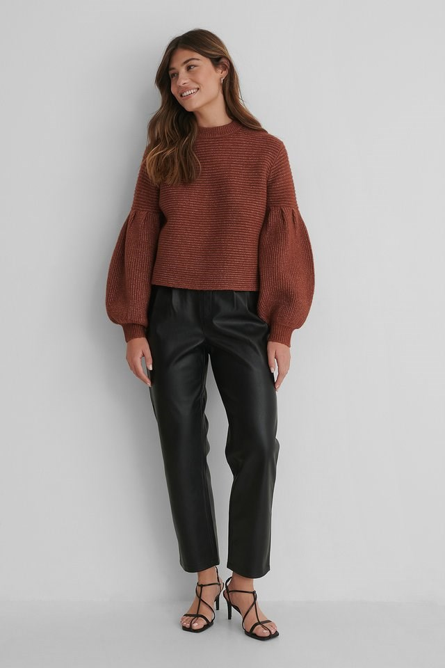 Dropped Puffy Sleeve Knitted Sweater