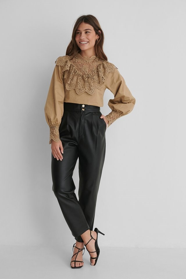 Balloon Sleeve Lace Detail Blouse