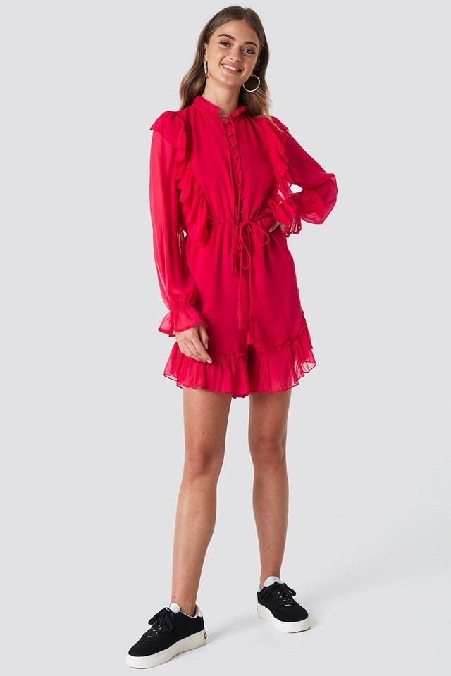 High Neck Red Playsuit Outfit