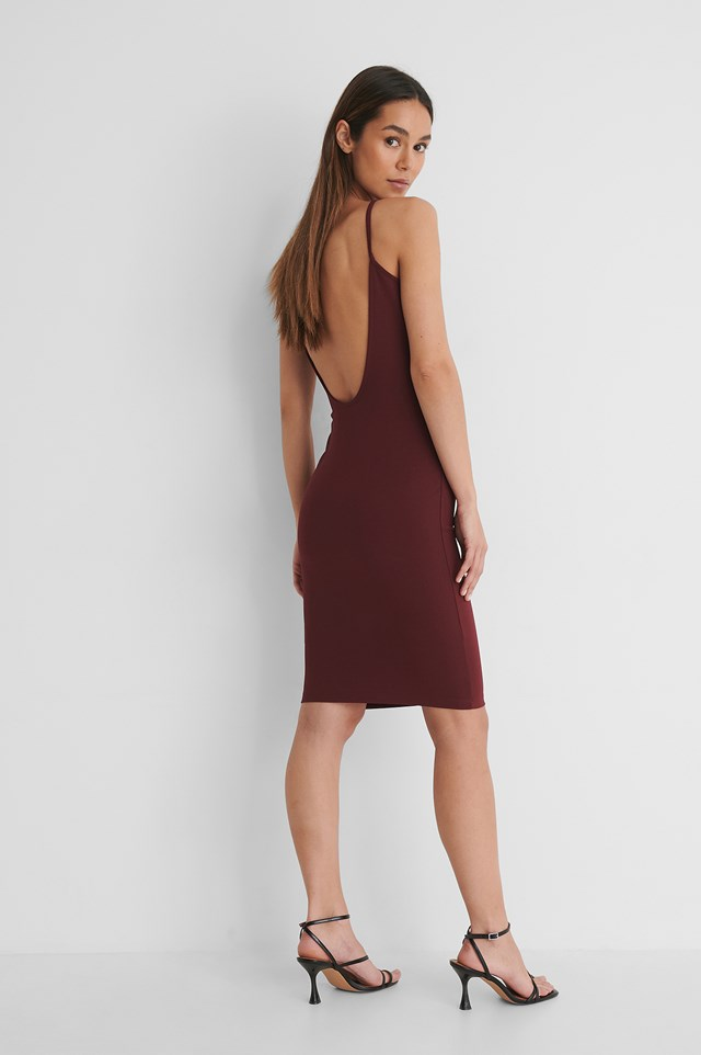 Deep Back Jersey Dress Outfit.