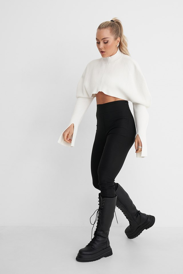 Puff Shoulder Knitted Sweater Outfit.