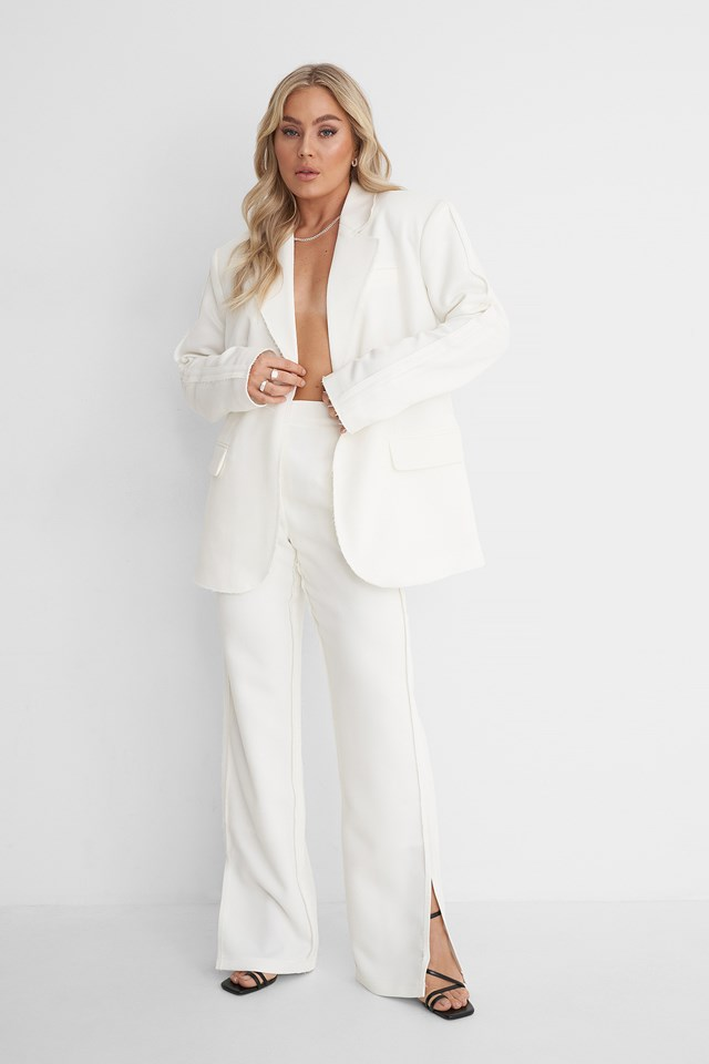 Seam Detail Blazer with Seam Detail Suit Pants Outfit.