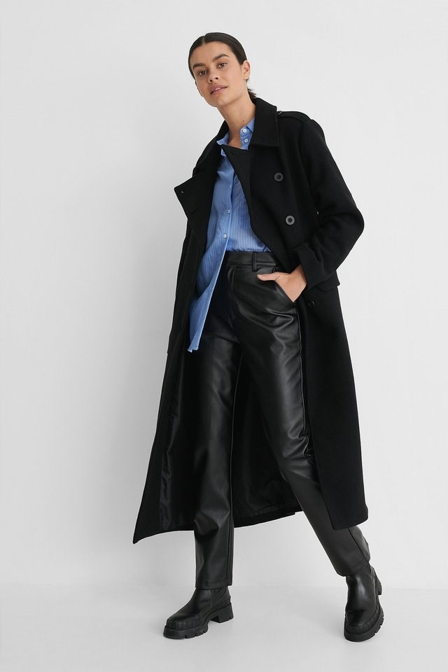 Belted Long High Neck Coat Outfit.