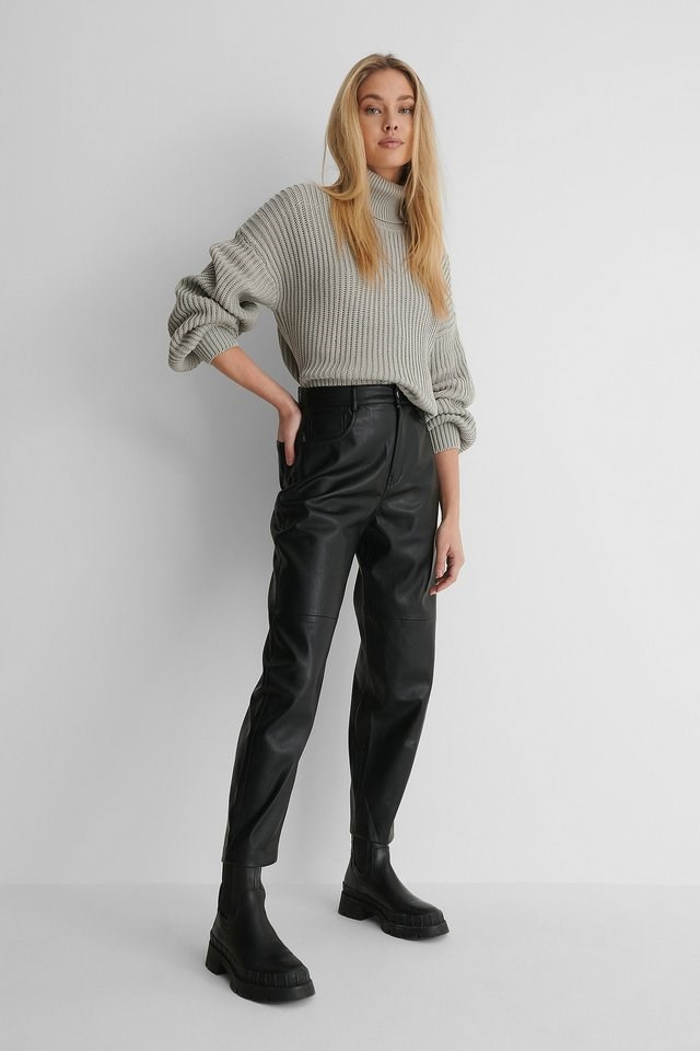 High Neck Balloon Sleeve Knitted Sweater Outfit.