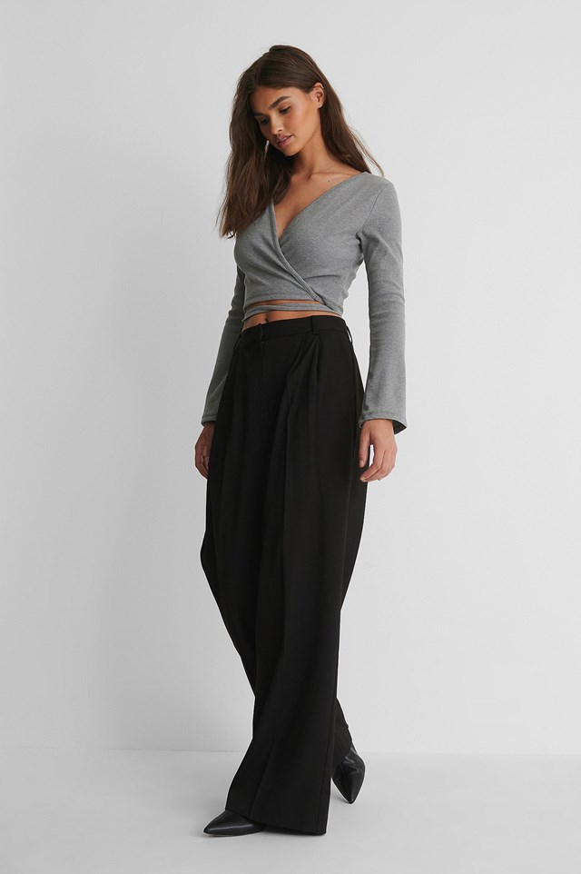 Wrap Around Knit Top Outfit.