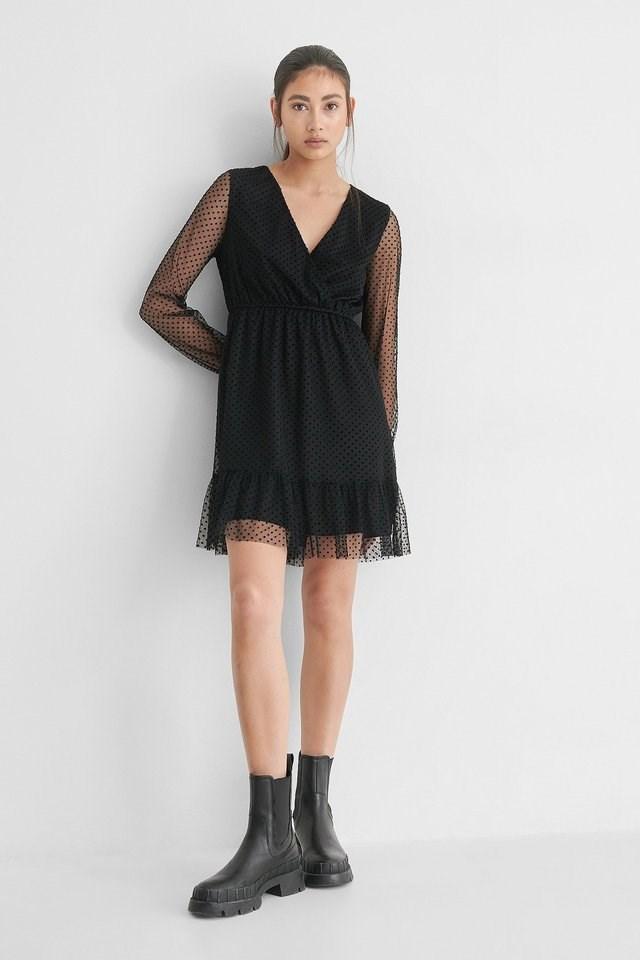 Black Dot Detail Chiffon Dress