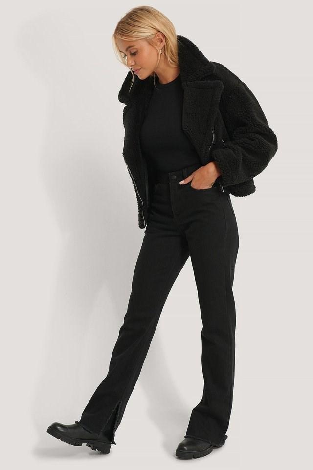 Black Short Teddy Zipper Jacket