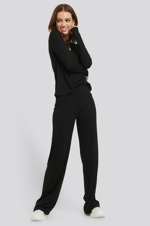 Soft Ribbed Wide Basic Pants Outfit.