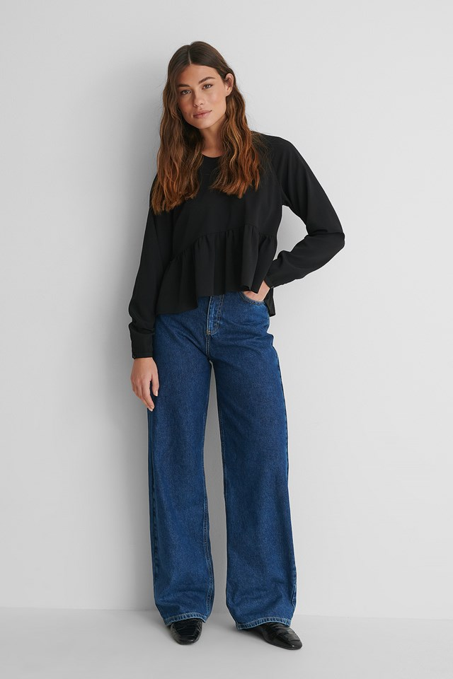 Loose Fit Blouse with Wide Denim Jeans.