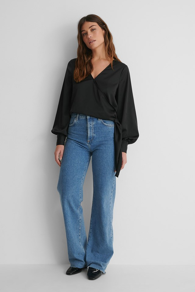 Satin Overlap Top with Wide Jeans.
