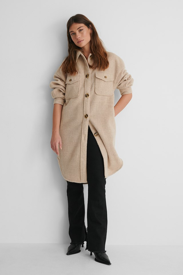 Long Overshirt with Slit Jeans and Heels.