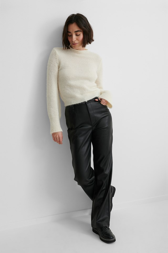 Hairy Knit Sweater with PU-Pants and Boots.