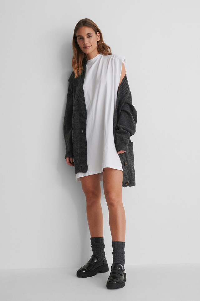 Shoulder Pad Mini Dress with a Grey Cardigan and Loafers.