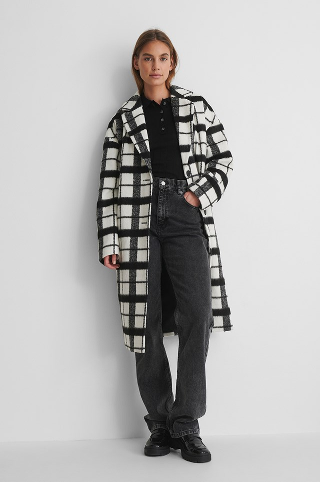 Checked Dropped Shoulder Coat with Grey Denim and Loafers.