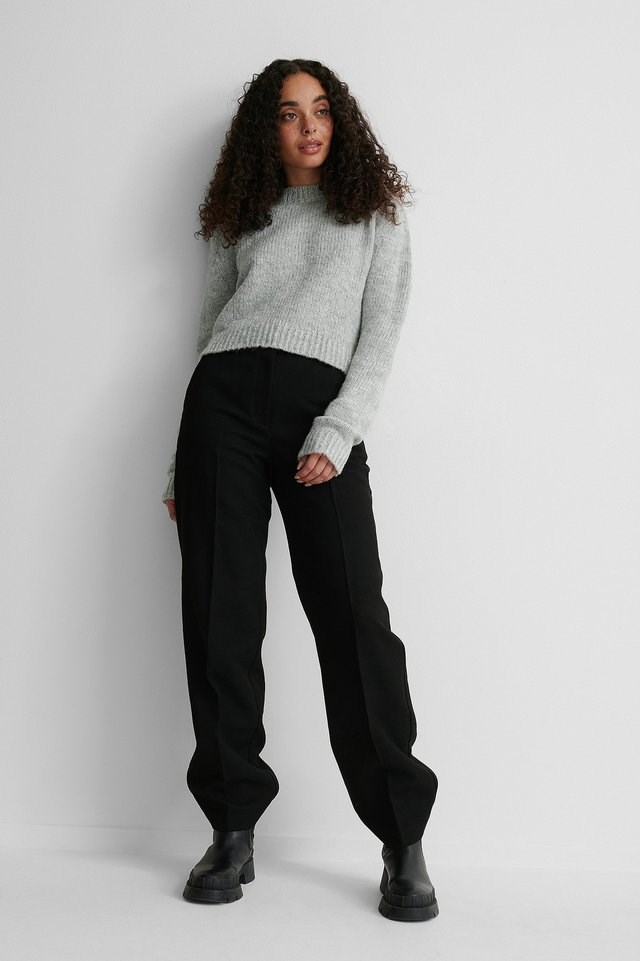 Crewneck Knit Sweater Outfit.