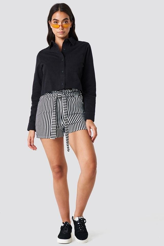 Denim Shirt with Tie Waist Shorts