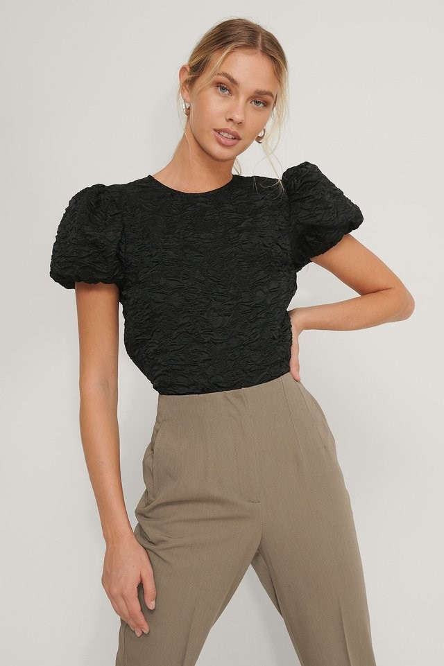 Puff Sleeve Structured Organza Top Outfit.