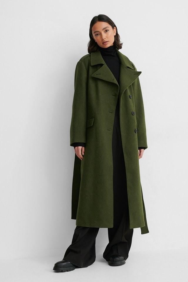 Belted Long High Neck Coat Green.
