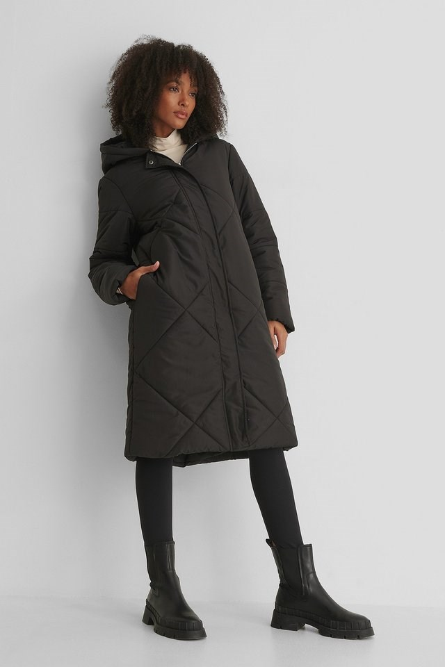 Long Padded Big Quilted Jacket Black.