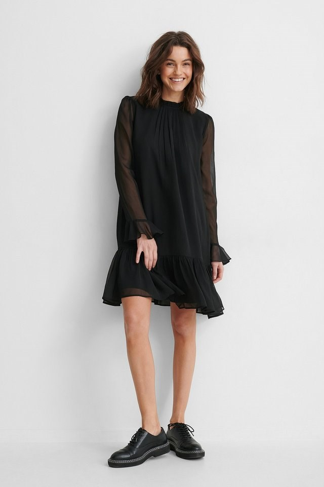 Puff Sleeve Pleated Chiffon Dress Outfit.