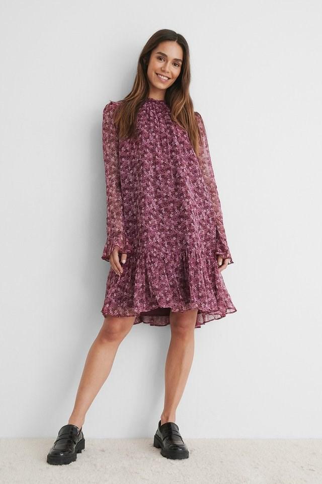 Puff Sleeve Chiffon Dress Outfit.