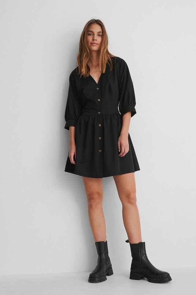 Balloon Sleeve Belted Mini Dress Outfit.