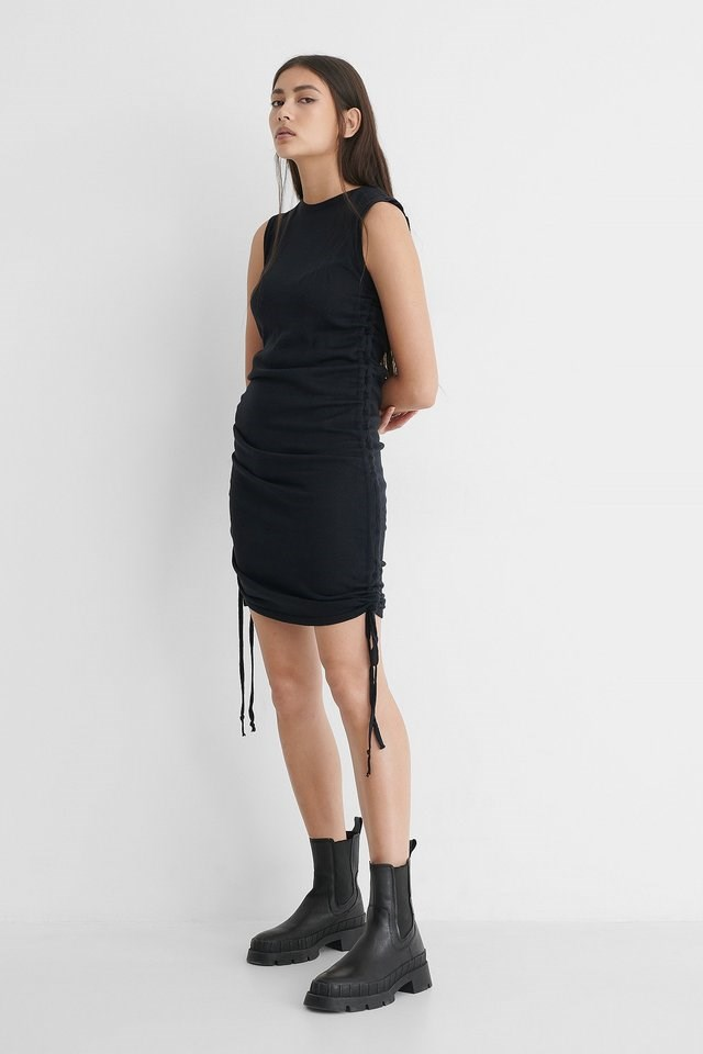 Drawstring Mini Dress Outfit.
