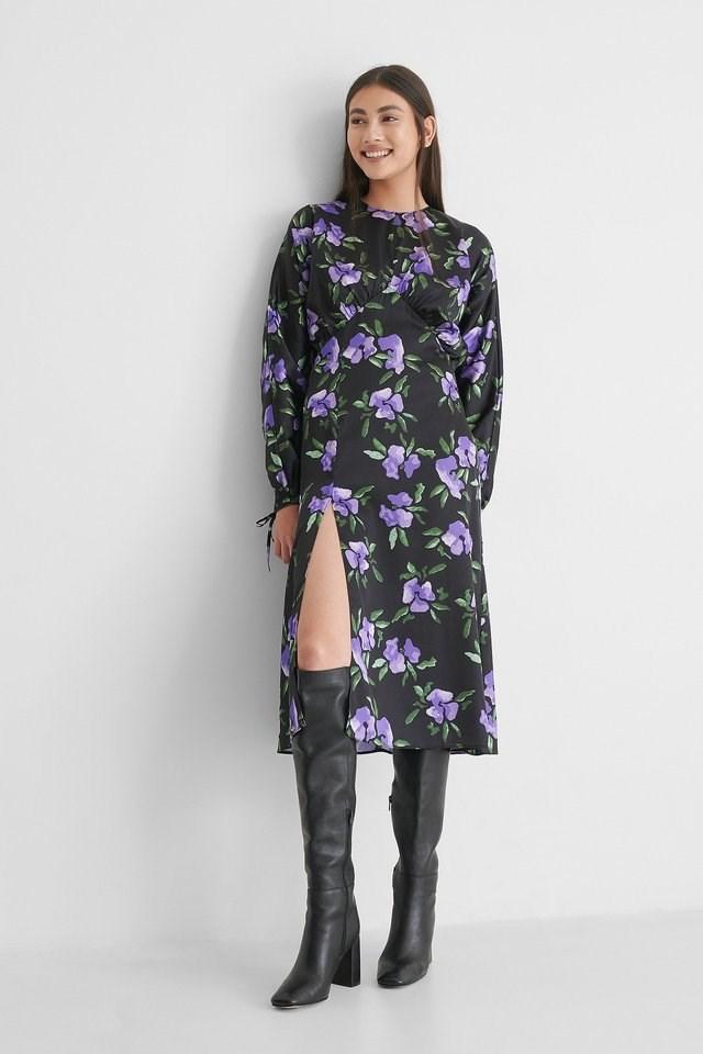 Purple Flower Open Back Side Slit Dress