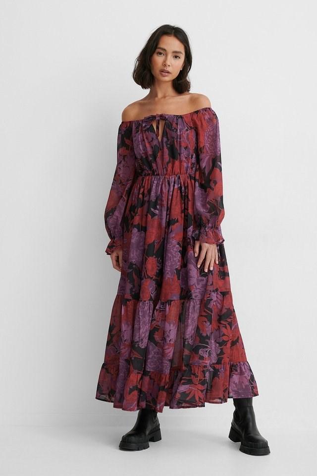 Off Shoulder Chiffon Dress Outfit.