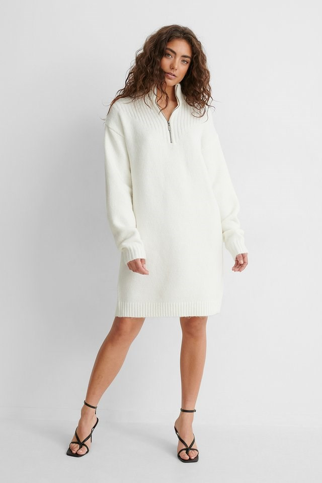 Offwhite Zip Detail Knitted Dress