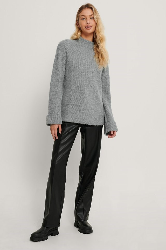 Alpaca Blend High Neck Knitted Sweater Outfit.