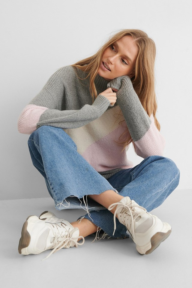 Color Blocked High Neck Knitted Sweater Outfit.