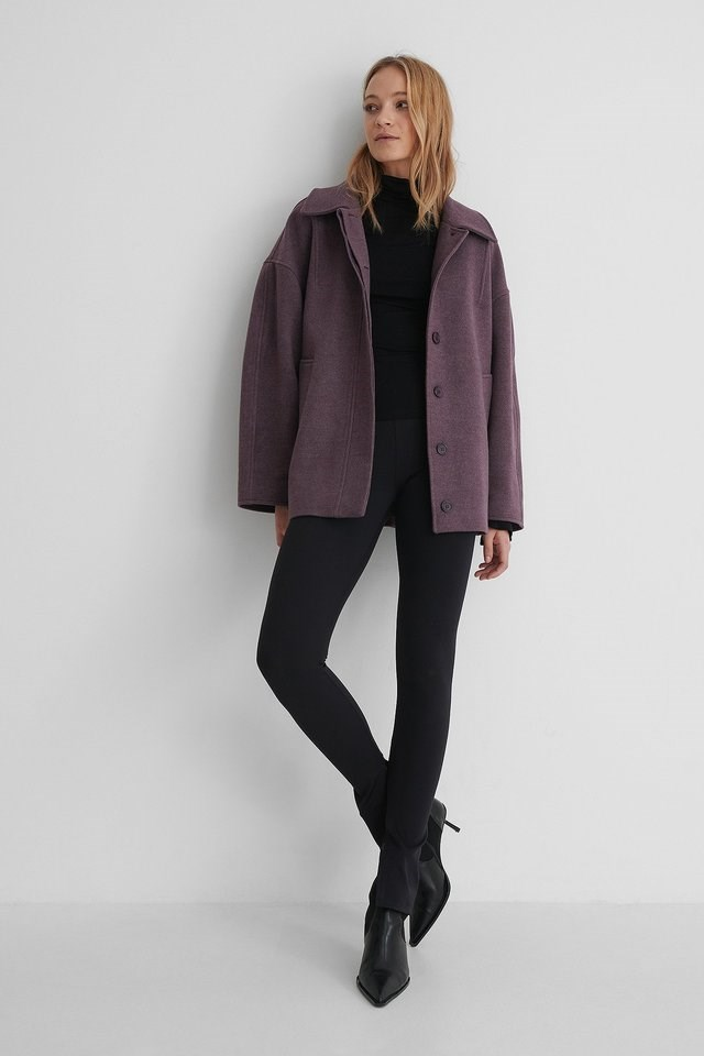 Wide Sleeve Shacket Purple.
