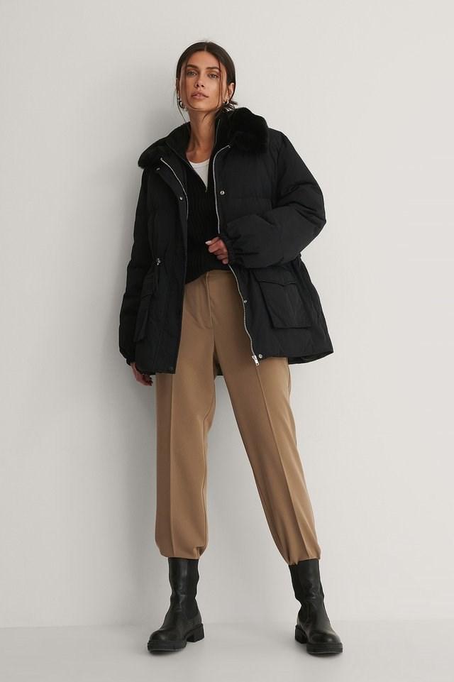 Black Drawstring Faux Fur Jacket