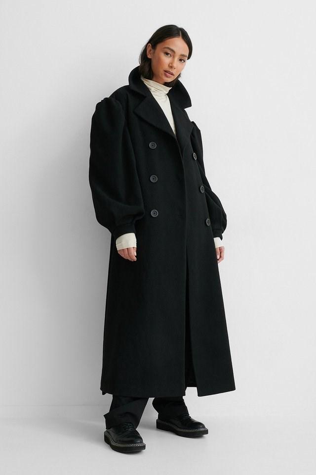 Balloon Sleeve Belted Coat Black.