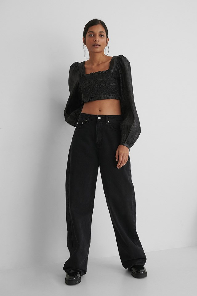 Shiny Smocked Cropped Top Outfit.