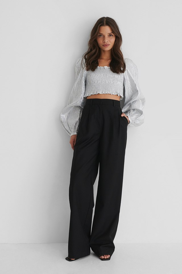 Shiny Smocked Cropped Top Outfit