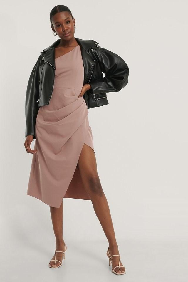 One Shoulder Waist Detail Dress Outfit.