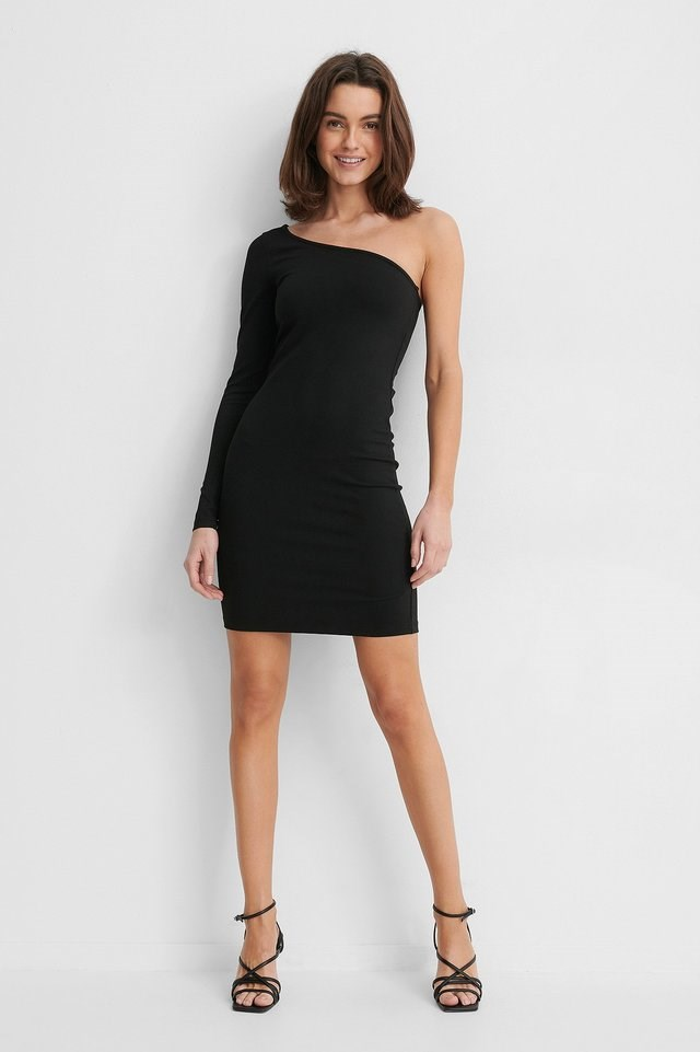 One Shoulder Bodycon Dress Outfit.