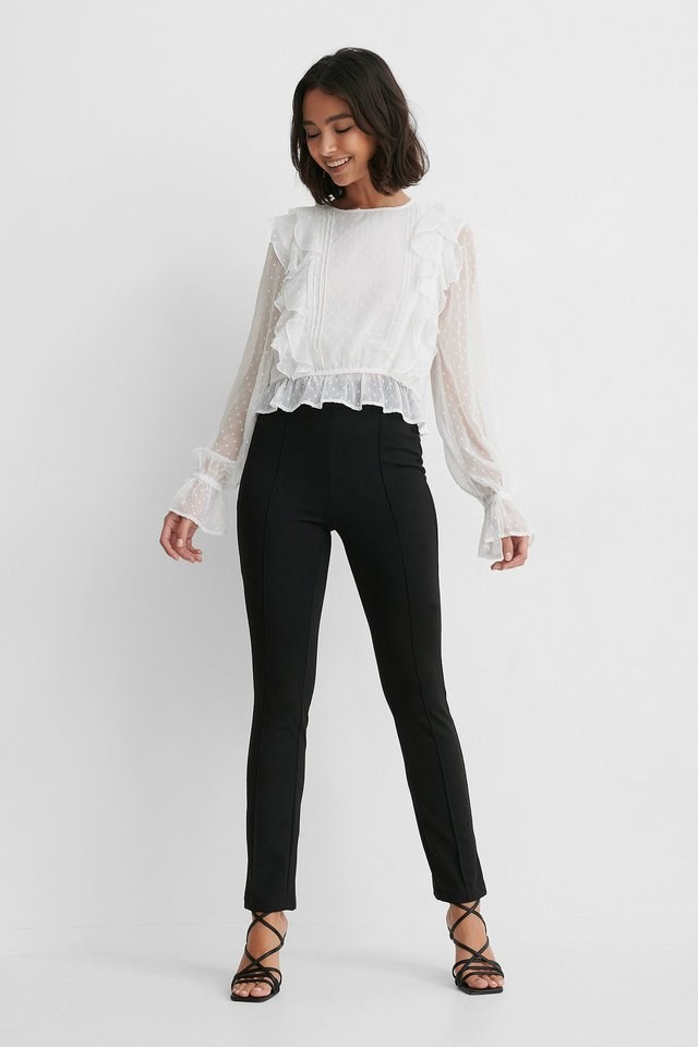 Dobby Multi Frill Blouse Outfit.