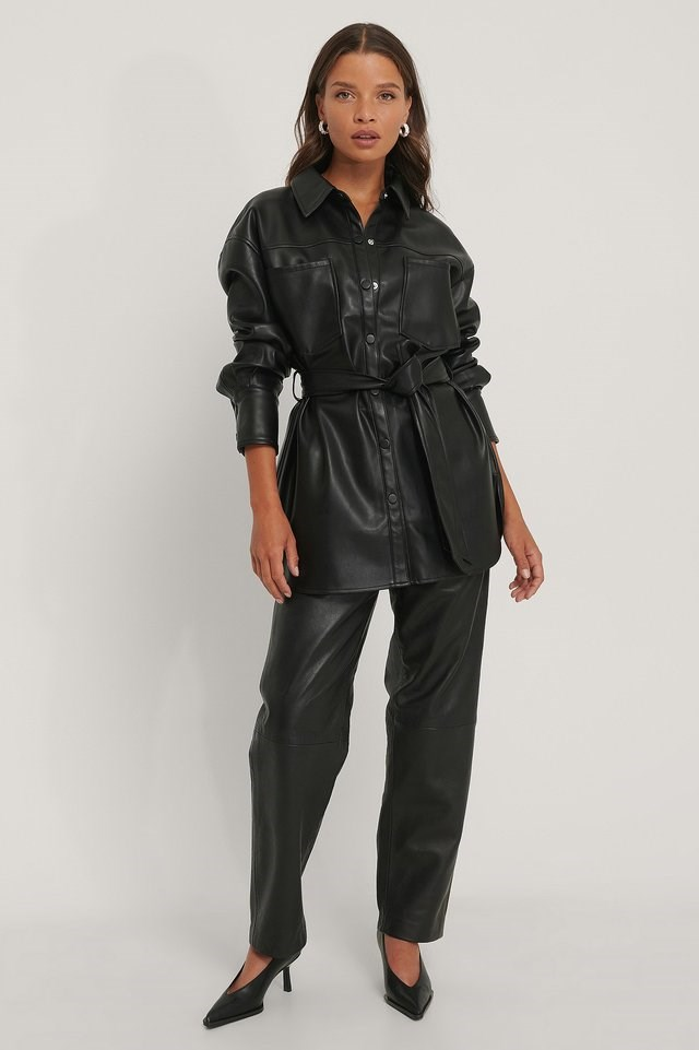 PU Belted Pocket Shirt Outfit.