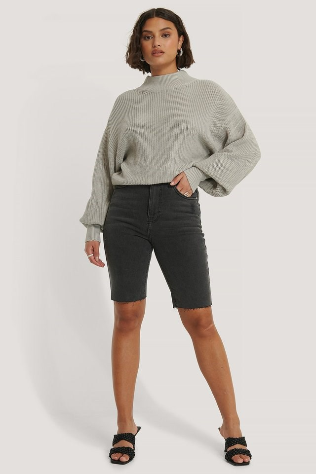Organic Volume Sleeve High Neck Knitted Sweater Outfit.