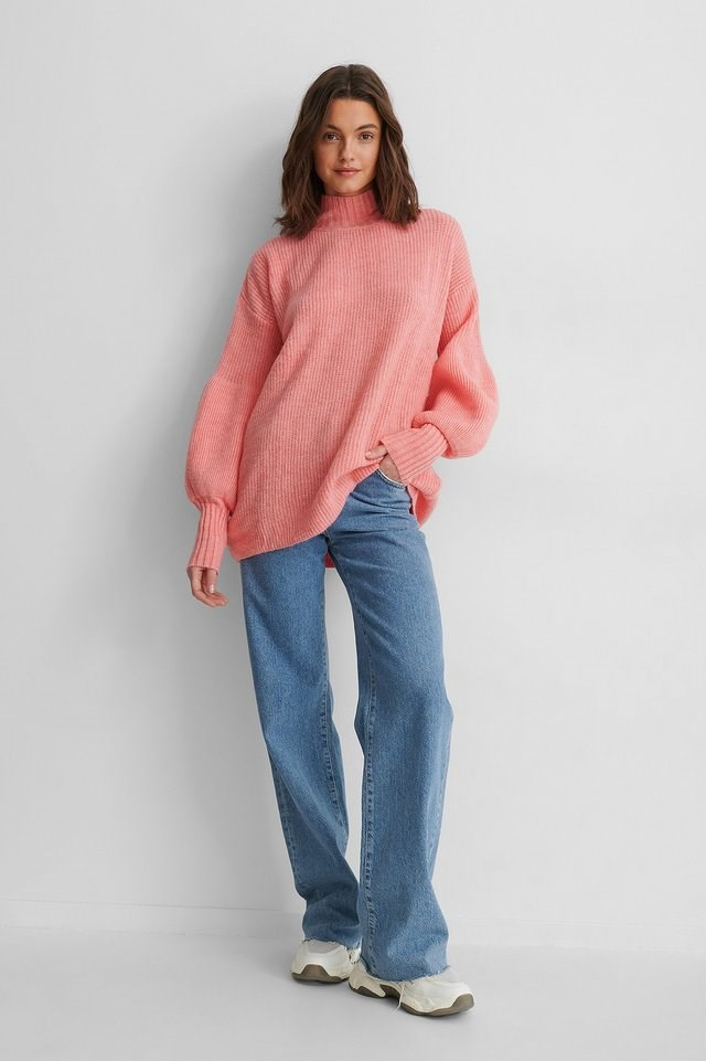 Balloon Sleeve Knit Sweater Outfit.