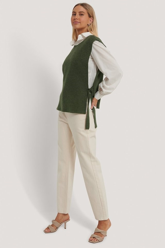 Open Side Knitted Vest Outfit.